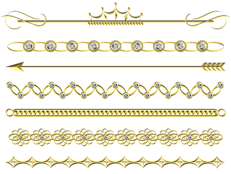 Gold, Divider, Line, Border, Set, Pack