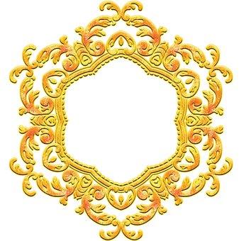 Golden Flowers, Golden Frame, Mandala