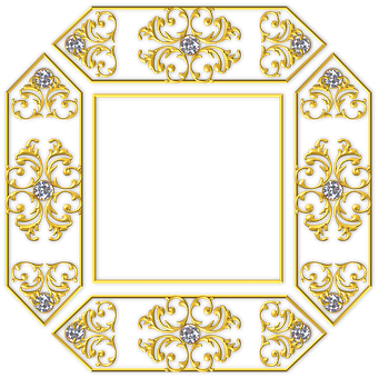 Gold, Square, Frame, Golden, Yellow, Metal, Metallic