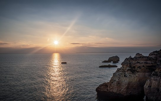 Sunset, Algarve, Portugal, Sea, Landscape, Nature