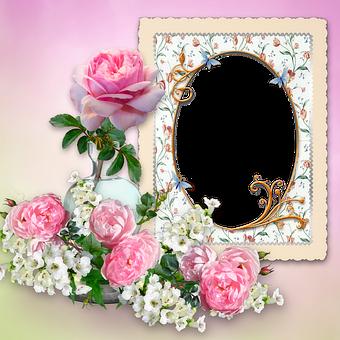 Roses, Vase, Glass, Flowers, Pink, White, Frame, Oval