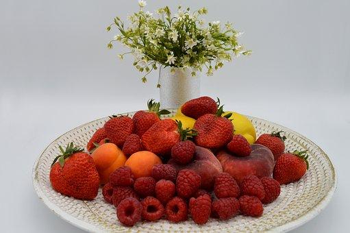 Fruit Plate, Fruits, Fruit, Strawberries, Lemons