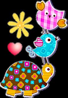 Plaid Owl, Bird, Turtle, Sun, Heart, Owl, Love, Perched