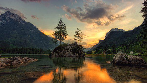 Nature, Waters, Lake, Island, Firs, Landscape, Evening