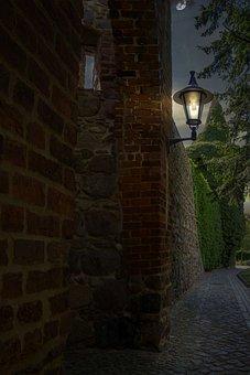 City Wall, Templin, Uckermark, Night, Light, Lantern