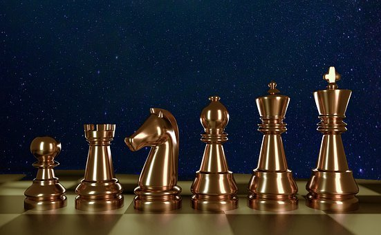 Chess, Gold, Starry Sky, Strategy, Play, Bauer, Figures