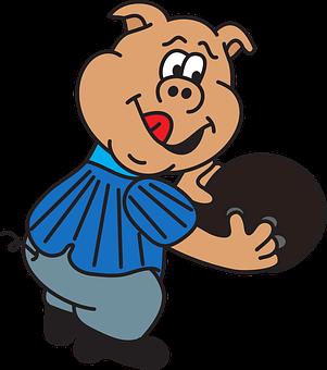Bowling, Bowler, Game, Sport, Pin, Ball, Pig, Cartoon