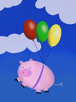 Pig, Flying, Piglet, Balloons, Flight, Cartoon, Piggy