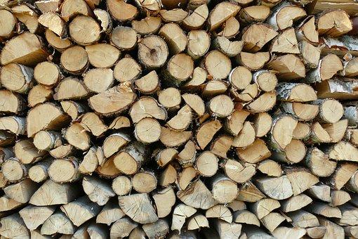 Wood, Firewood, Pile, Prepared, Stored, Heating, Fuel