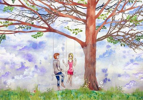 Tree, Swing, Sweethearts, Love, Sky, Branch, Couple