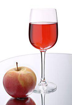 Glass, Wine, Red, Alcohol, Strong, Background, Apple