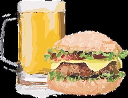 Burger, Brew, Beer, Cheeseburger, Sandwich, Lunch, Food