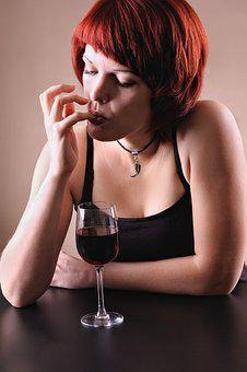 Drinking, Red, Wine, Glass, Girls, Alcohol, Female