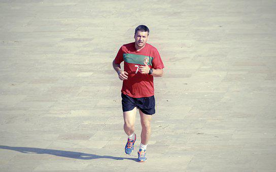 Man, Young, Person, Running, T-shirt, Red, Sports