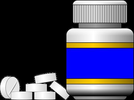 Bottle, Pills, Pharmacy, Medicine, Blue, Etiquette