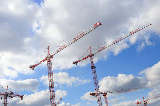 Cranes, Work, Project, Building, Sky, Real Estate, Site