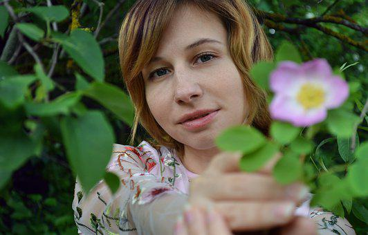 Flower, Girl, Tenderness, Romance, Rose Hip, Lilac