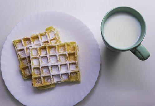 Food, Waffle, Dessert, Breakfast, Sweet, Waffles, White