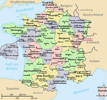 Map Of France, Translated Into German, Departments