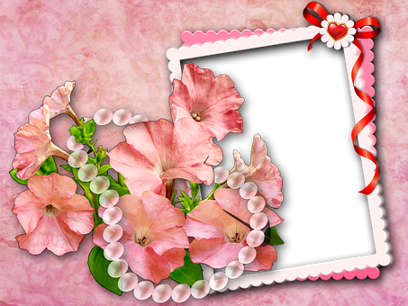 Flowers, Petunia, Beads, Chain, Pink, White, Red