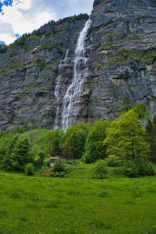 Switzerland, Alpine, Waterfall, High Rock Wall