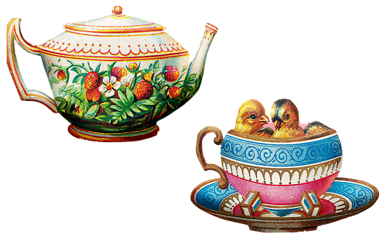 Vintage Teapot, Tea Cup, Birds, Baby Chicks, Teapot