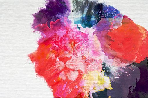 Lion, Art, Watercolor, Paper, Animal, Roar, Africa