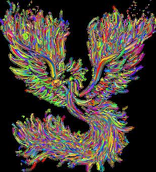Phoenix, Bird, Rebirth, Fire, Flame, Burning, Colorful