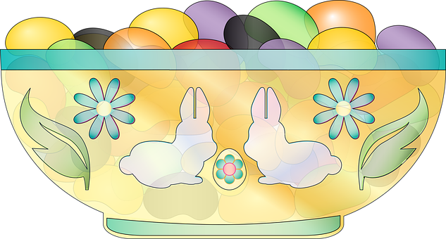 Graphic, Jelly Beans, Dish, Easter, Bowl, Candy, Bunny
