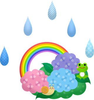 Kawaii Frogs, Rain, Japanese, Snail
