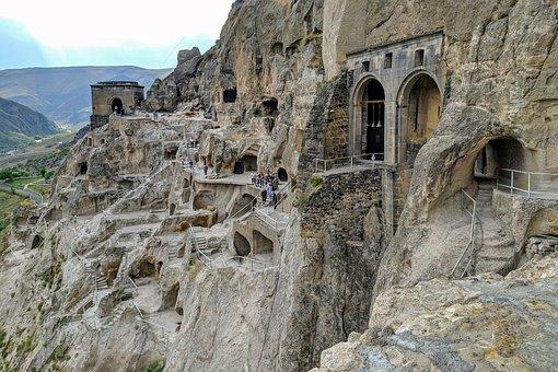 Vardzia, Cave, City, Landscape, Mountain, Panorama
