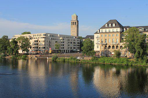 Tower, Town Hall, Mülheim, Ruhr, River, Mirroring