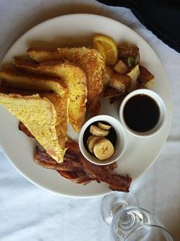 French Toast, Food, Restaurant, Bananas, Bacon, Water