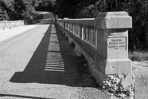 Black And White, Bridge, Shadows, Road, Gravel, Black