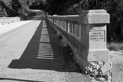 Black And White, Bridge, Shadows, Road, Gravel, Black