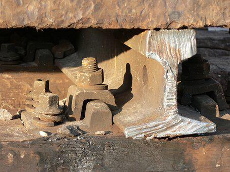 Rail, Steel, Screws, Wood, Concrete, Detail, Sleeper