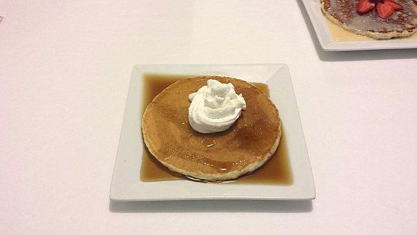 Pancake, Honey, Cream, Breakfast, Food, Meal, Sweet