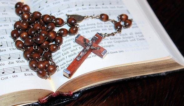 Cross, Rosary, Prayer Book, Gold Edge, Christianity