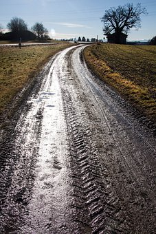 Lane, Tire Tracks, Puddles, Arable, Dirt, Mud