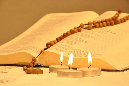 Bible, Candles, Rosary, Third, Faith, Catholicism