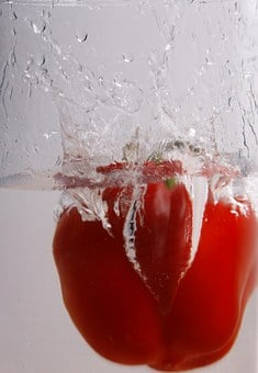 Paprika, Water, Immersion, Red, Food, Vegetables