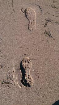 Footprints, Sand, North Sea, Footprint