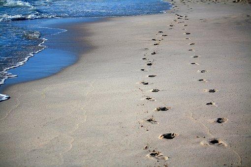 Footprints, Sand, Sea, Ocean, Tracks In The Sand