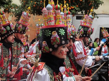 Carnival, Troupe, Percussion, Party, Costumes, Hats