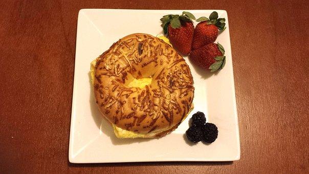 Breakfast, Food, Bagel, Meal, Plate, Delicious, Healthy