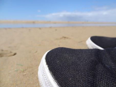 Beach, Shoes, Sand, Summer, Leisure, Holiday, Easily