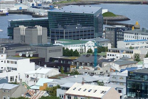 Iceland, Reykjavik, Port, Hallgrímskirkja, Outlook
