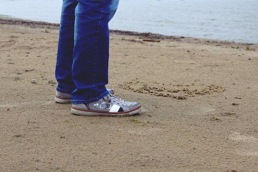 Legs, Man, Shoes, Sand, Beach, Water, Rain, Wet, Autumn