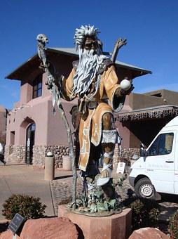 Merlin, Wizard, Statue, Mystic, Magical, Beard, Fantasy