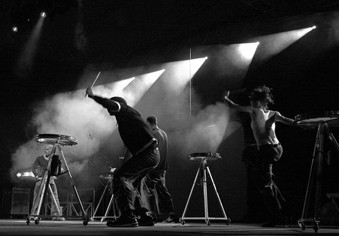 Stage, Drums, Performance, Spotlight, Music, Concert